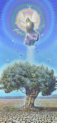 Wall Art - Painting - Angel Over The Olive Tree II by Miguel Tio