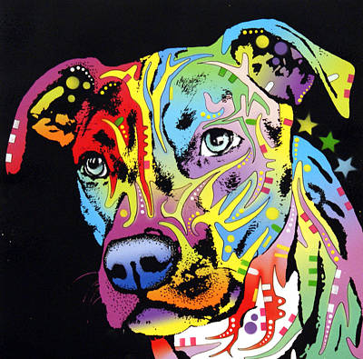 Colorful Dog Wall Art - Painting - Angel Pit Bull by Dean Russo Art