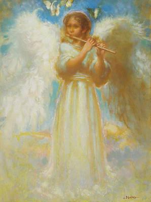 Angel Playing Flute Art Print by John Murdoch