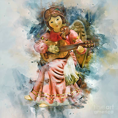 Painting - Angel Playing Guitar by Ian Mitchell