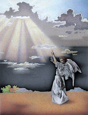 Angel Pointing To Heaven Original by Ben Sapia