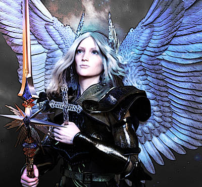 Angel Digital Art - Angel Poster by Suzanne Silvir