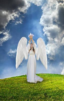 Angel Releasing A Dove Art Print by Jill Battaglia