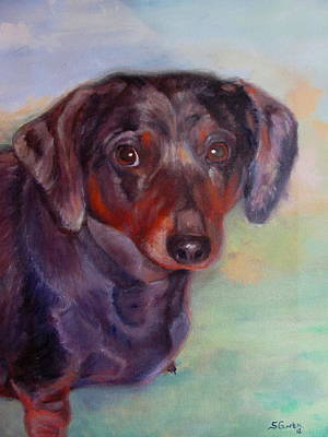 Dachshund Oil Painting - Angel by Sheila Gunter