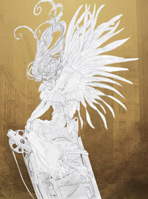 Drawing - Angel Statue by Shawn Dall