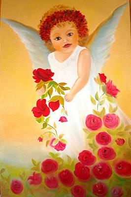 Angel Surrounded By Red Roses Art Print by Xafira Mendonsa