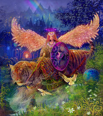 Tiger Painting - Angel Tarot Card Angel Fairy Dream by Steve Roberts