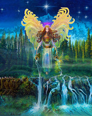 Archangels Painting - Angel Tarot Card Archangel Jophiel  by Steve Roberts