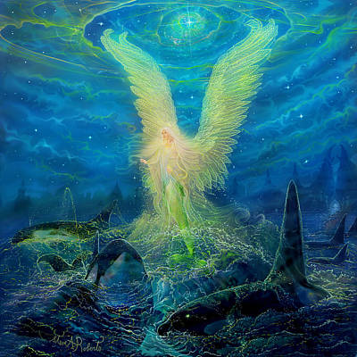 Print featuring the painting Angel Tarot Card Mermaid Angel by Steve Roberts