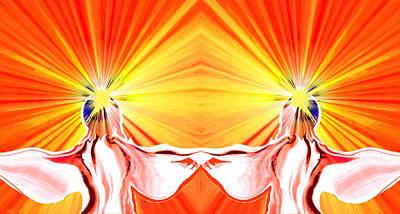 Innocent Angels Digital Art - Angel Twins Sunburst by Abstract Angel Artist Stephen K