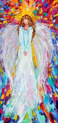 Guardian Angel Oil Painting - Angel Watching Over Me by Karen Tarlton