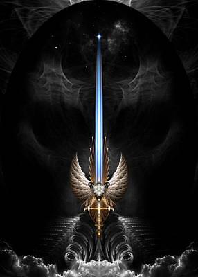 Digital Art - Angel Wing Sword Of Arkledious Dgs by Xzendor7