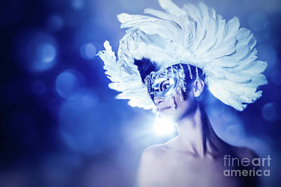 Art Print featuring the photograph Angel Wings Venetian Mask With Feathers Portrait by Dimitar Hristov