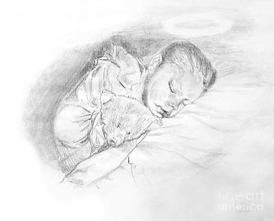 Drawing - Angel With A Teddy Bear by Expressionistart studio Priscilla Batzell