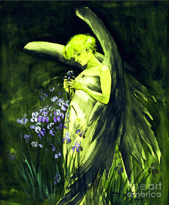 Painting - Angel With Blue Flowers by Doris W Keith