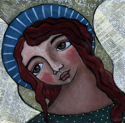 Christian Art . Devotional Art Painting - Angel With Blue Halo by Julie-ann Bowden
