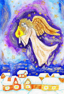 Painting - Angel With Candle, Painted Christmas Picture by Irina Afonskaya