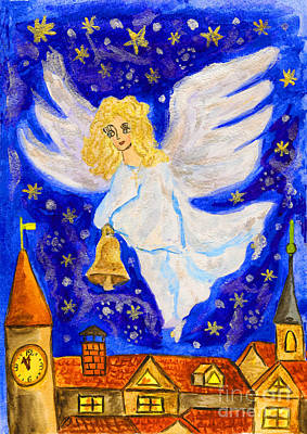 Painting - Angel With Christmas Bell by Irina Afonskaya