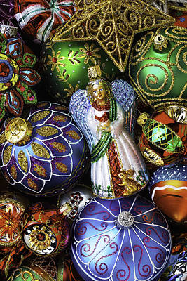Embellishments Photograph - Angel With Christmas Ornaments by Garry Gay