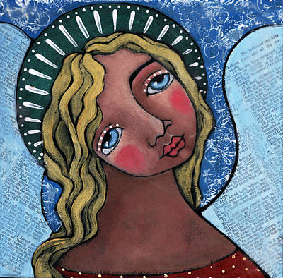 Devotional Art Painting - Angel With Green Halo by Julie-ann Bowden