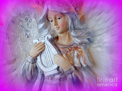 Digital Art - Angel With Harp by Ed Weidman