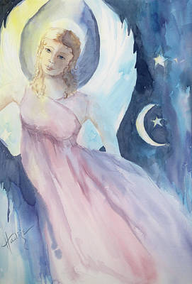 Moon And Stars Painting - Angel With Moon And Stars by Mary DuCharme