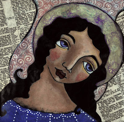 Christian Art . Devotional Art Painting - Angel With Purple Eyes by Julie-ann Bowden