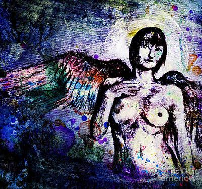 Angel With Rainbow Wings Art Print by Michael Volpicelli