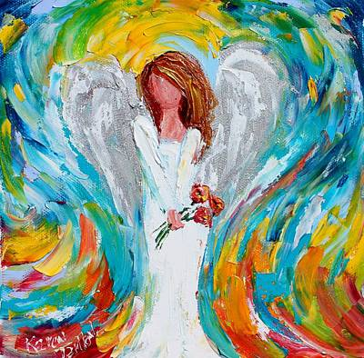 Painting - Angel With Red Flowers by Karen Tarlton