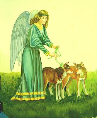 Painting - Angel With Red Wolves by Ruth Seal