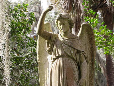 Photograph - Angel With Spanish Moss by Cindy Fleener