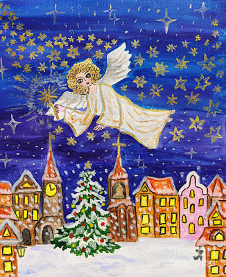 Painting - Angel With Sparkler, Christmas Picture by Irina Afonskaya