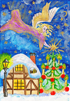 Painting - Angel With Star, Hand Painted Christmas Picture by Irina Afonskaya