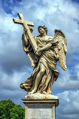 Photograph - Angel With The Cross Statue On The Ponte Sant' Angelo Bridge, Rome, Italy by Elenarts - Elena Duvernay photo