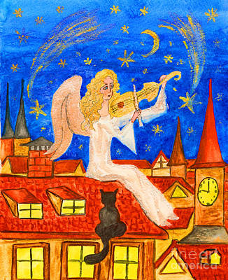 Painting - Angel With Violin, Painting by Irina Afonskaya