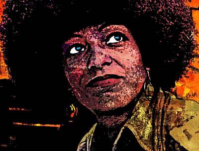 Black Panther Party Mixed Media - Angela Davis-5 by Otis Porritt
