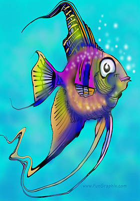Art Print featuring the painting Angelfish by Kevin Middleton
