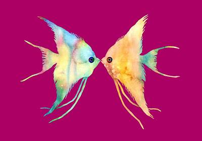 Exotic Creatures Painting - Angelfish Kissing by Hailey E Herrera