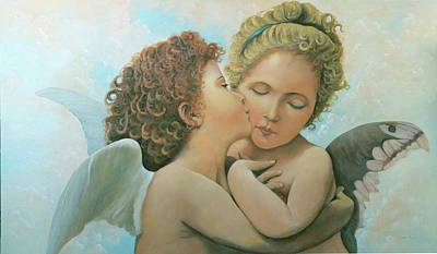 Painting - Bouguereau Angels- My Adaptation by Rosario Piazza