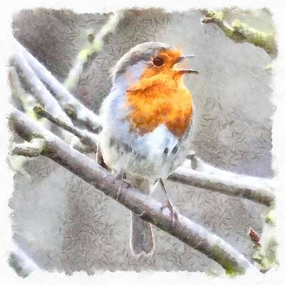 Painting - Angelic Robin Watercolor by Tracey Harrington-Simpson