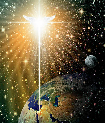 Digital Art - Angelic Star Over Bethlehem by James Larkin
