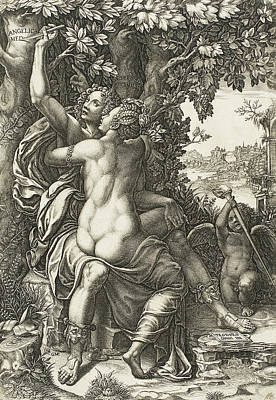 Cherub Drawing - Angelica And Medoro by Giorgio Ghisi