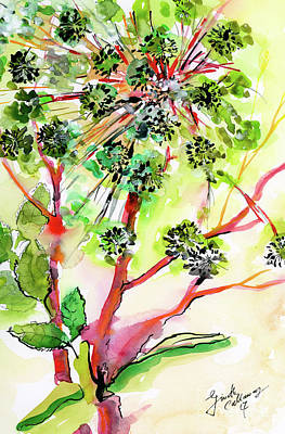 Painting - Angelica Modern Herb Watercolor And Ink by Ginette Callaway