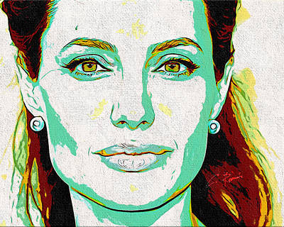 Digital Art - Angelina Jolie by Charlie Roman