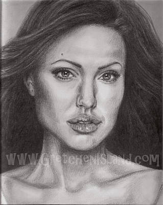 Graduation Gift Drawing - Angelina Jolie by Gretchen Barota