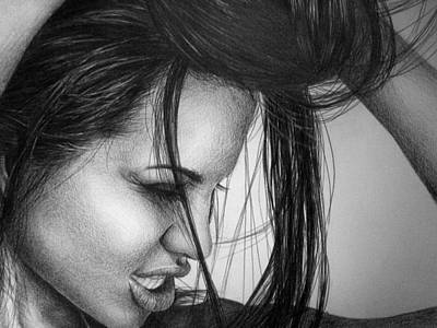 Celebrity Portraits Drawing - Angelina Jolie by Jennifer Bryant
