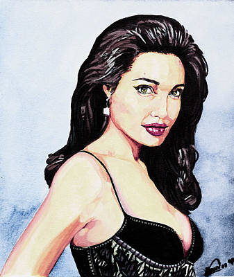 Female Mixed Media - Angelina Jolie Portrait by Alban Dizdari