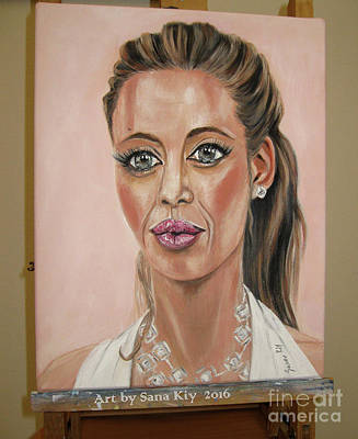 Painting - Angelina Jolie. Portrait by Oksana Semenchenko
