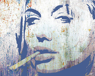 Mixed Media - Silver Screen Angelina Jolie Smoking by Tony Rubino