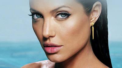 Portraits Digital Art - Angelina Jolie by Super Lovely